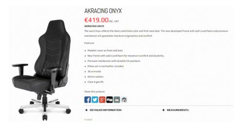 블랙컬러를 입은 심플한 게이밍 의자, 제닉스 'AKRACING ONYX'